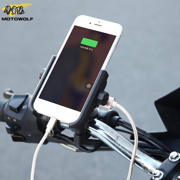 Motos Suporte Phone Holder telefone traseira recarregável para 8 7 Plus S8 GPS Universal Moto Suporte de Montagem Suporte