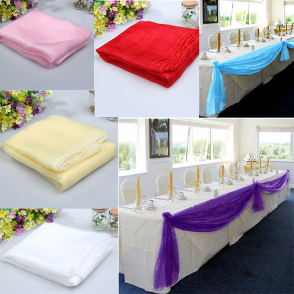 1.4m Organza Table Runners Wedding Decoration Banquet Chair Bow Decoration 6 Colors DIY Wedding Party Decoration Casamento E5M1