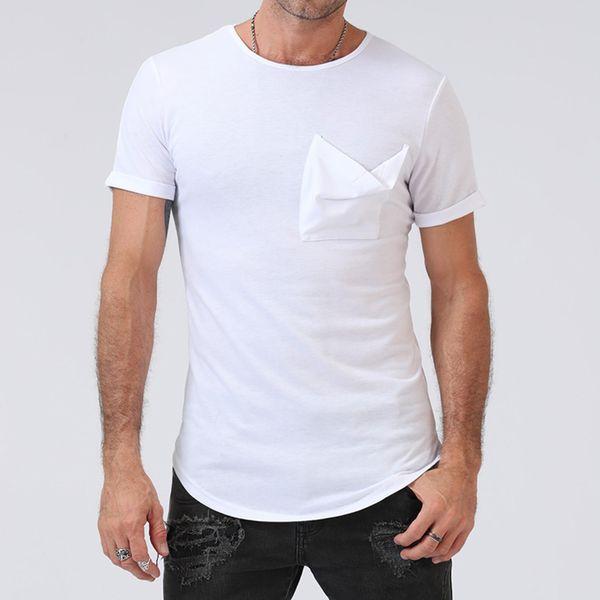 Hommes D'Été De Mode T Shirt Solid Swag À Manches Courtes T-shirt Mâle Mince Élégant Poche Conception Streetwear Nouveau Hommes Vêtements Tops Tee