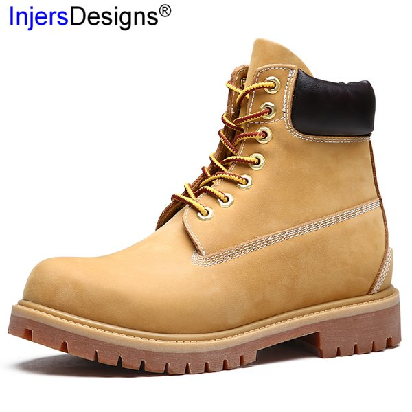 New Arrival Lovers Martin Boots Lace-Up Yellow Ankle Boots Fashion Vintage Hard-Wearing Motorcycle Botas Hombre Size 35-45