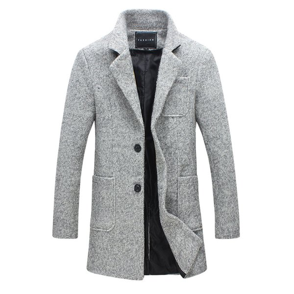 2018 New Trench Coat Men Brand Clothing Winter Fashion Mens Jackets And Coats 40% Wool Long Trench Men Jacket Coats Plus M-5XL
