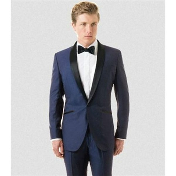 2017 Latest tailored Groom tuxedos satin Black shawl lapel wedding suits for mens 3 pieces men suit (coat+Pants+ bow tie)