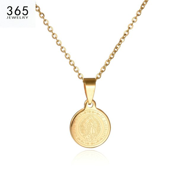 2017 New Body Coin Necklace Gold Chain Men Pendant Necklace Round Stainless Steel Brand Jewelry For Women