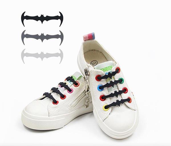 No Tie Shoelaces Wild Creative Bat Children Shoe Laces Fashion Elastic Silicone Lazy Lace 4.5cm 12PCS/ set