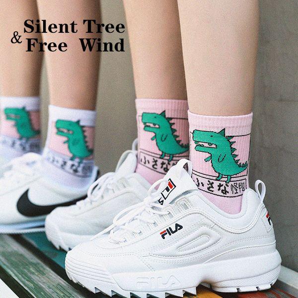 Japanese Harajuku Women Dog Dinosaur Shiba Cat Cotton Cartoon Socks Funny Cute Unisex White Pink Animal Skateboard Daily Socks