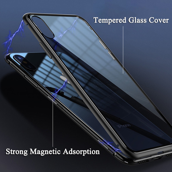 Magnetic Adsorption Flip Case + Tempered Glass Back Cover for iPhone X 8 8 Plus 7 7 Plus Luxury Metal Bumpers Hard Case