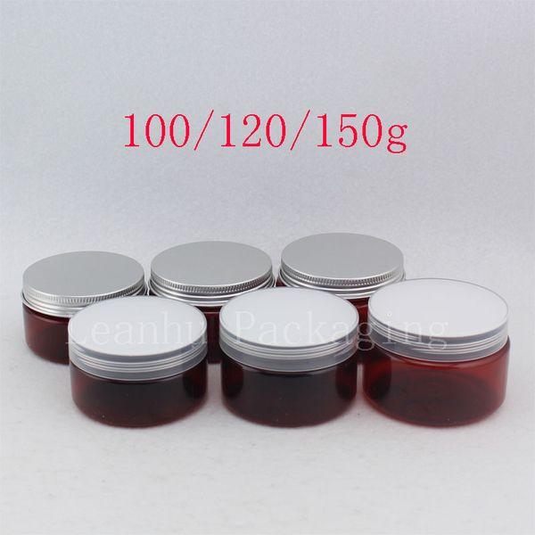 100g 120g 150g Brown Empty PET Skin Care Cream Container, Plastic Cosmetic Jar Facial Mask Pot Tin Plastic Screw Caps Powders