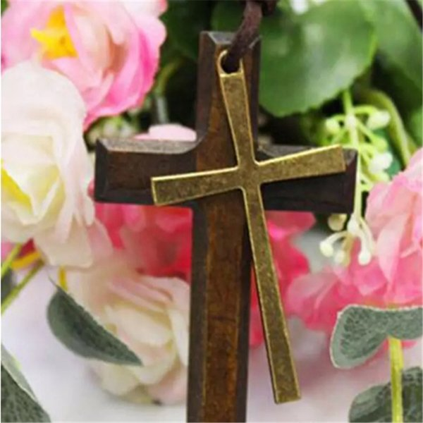 Double wooden cross pendant necklace vintage alloy leather cord sweater chain men women jewelry lovers stylish 2018111001