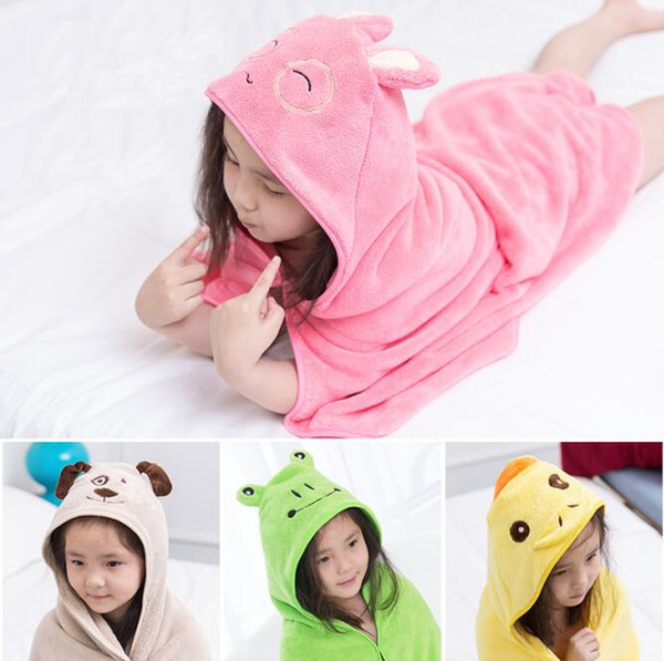 90*90cm 10colors Kids Animal Bathrobe Toddler Girls Boys Cartoon Pattern Towel Hooded Bath Towel Terry Wrap