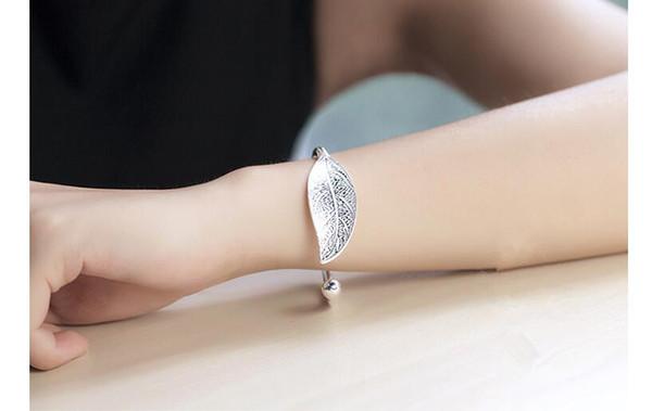 Frauen 925 versilbert Blätter Armband Eröffnung Manschette Armreif Mode DE