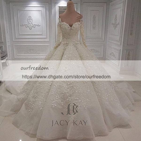 Vestido De Noiva Кружевные свадебные платья 2019 Модест с длинными рукавами 3D Flora Аппликации Кружева бальное платье Замок Свадебное платье на заказ