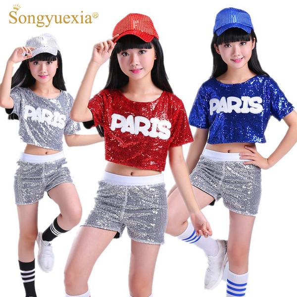 SONGYUEXIA дети танцуют костюм Костюм утечки блестки черлидинг хип-хоп Современный танец костюмы мальчик девочка этап танцевальная одежда