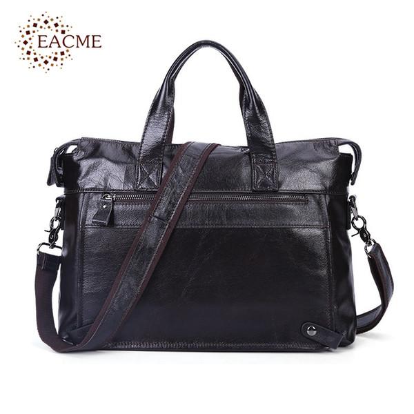 EACME Real Leather Briefcase Men Business Handbag Black Gentleman 14 Inch Laptop Bags for Men's Document Messenger Bag Male NEW