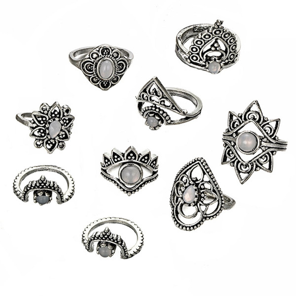 9 Style Vintage Knuckle Rings For Women Boho Geometric Flower Crystal Ring Set Bohemian Midi Finger Jewelry Bague Femme