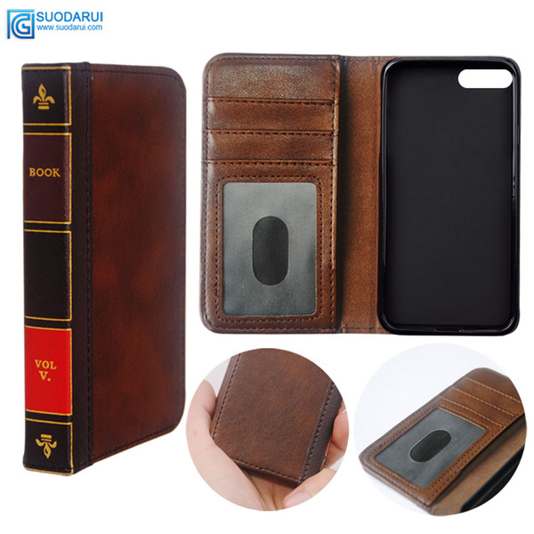 Flip Leder Handyhülle für iPhone 7 8 plus Brieftasche Retro Bibel Vintage Buch Business Pouch