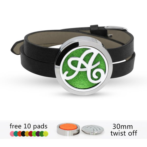 ABC English alphabet 316 L stainless steel Perfume Essential oil Diffuser Locket bracelet bangle 30mm locket Black Pu leather with 10pads
