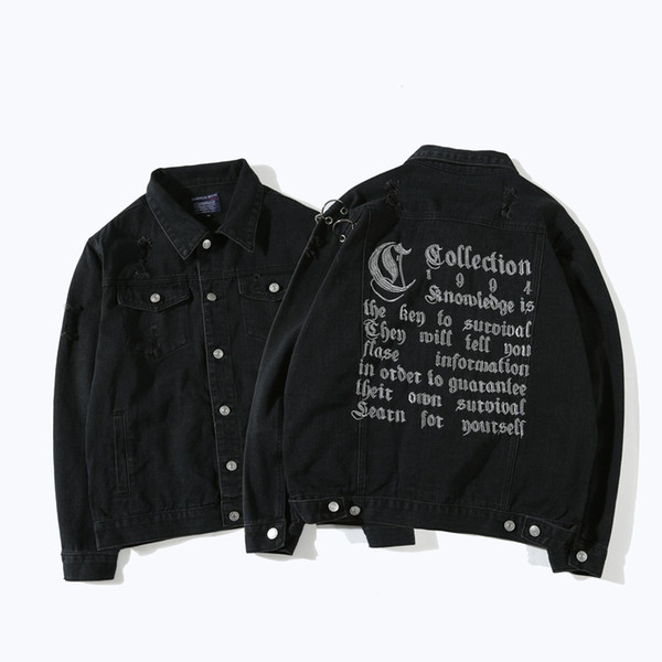 Wholesale Free Shipping Men Hip Hop High Street Loose Black Metal Ring Ripped Hole Letter Embroidery Denim Jacket Coat