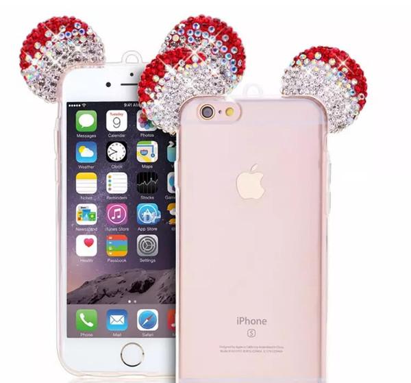 Bling Glitter Rhinestone Mouse Ear Cute Phone TPU Soft Case for iphone6 6s 6plus 6splus 7 7plus 8 8plus x LLFA