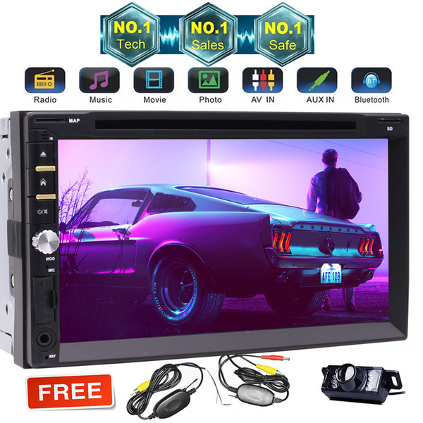 7'' Double Din In-Dash Car dvd Stereo Receiver with Bluetooth, Disc/MP3/MP4 Player, Capacitive Touch Screen, AM/FM Radio, Microphone and SD
