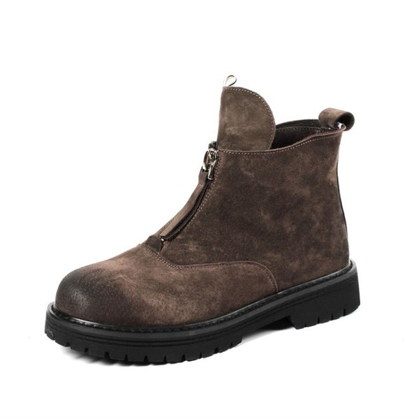 2018 new spring and winter women ankle boot genuine leather round toe brown color slip on woman boot sude US SIZE 4.5-7 Q-30