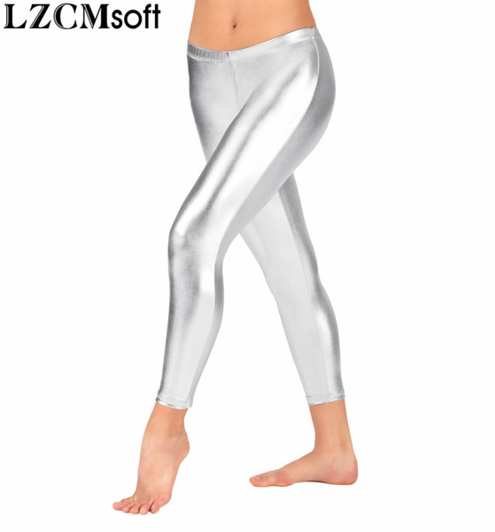 LZCMsoft Child Ankle Length Metallic Dance Pants Girls Low Waisted Leggings Spandex Silver Pants Dancewear For Stage Performance