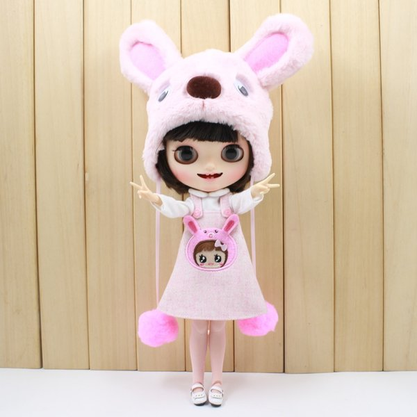 free shipping for blyth doll icy licca cute clothes pink dog set bear suit bag stocking hat lovely 1/6 30cm