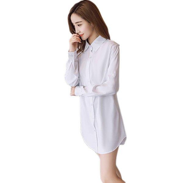 242fd941cda Blusa blanca de algodón para mujer Camisa larga de manga larga para mujer  blanca pijama de