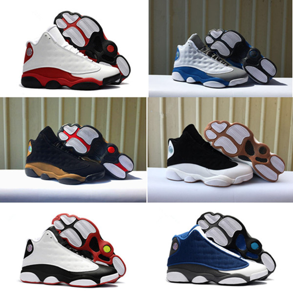 Cheap 2018 High quality shoes 13 XIII 13s Basketball Shoes Black Brown White Grey kids-men Athletic shoe Size 7-13