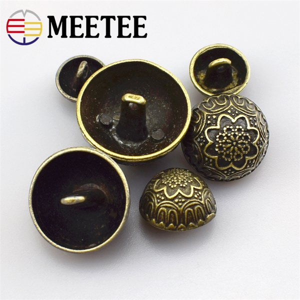Meetee Bronze Carved Retro Metal Buttons Mushroom Shirt Jacket Coat Sewing Botones for Clothing Scrapbook Accessories
