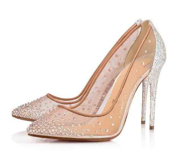 Italy Luxury Red Sole For WOMEN Shoes Bridal Pumps Follies Strass Flat/High Heels Genuine Leather With Fishnet And Match Rhinestones Sensual
