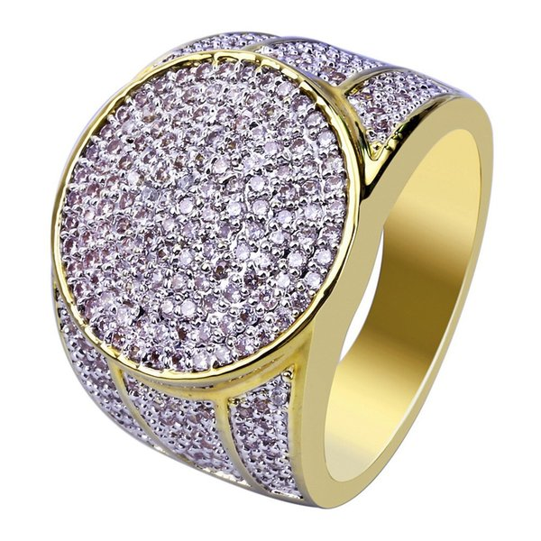 Hip Hop Rock Iced Out Bling Jewelry Ring Gold Color Micro Pave Cubic Zircon Rings 7,8,9,10,11 Five Sizes For Male Gifts BR017