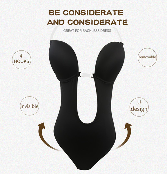 7117b4ed919d4 Women Push Up Bra Invisible Bras Shaper Bodysuit Seamless Backless Clear  Strap Bodysuits Plunge Thong Shapewear