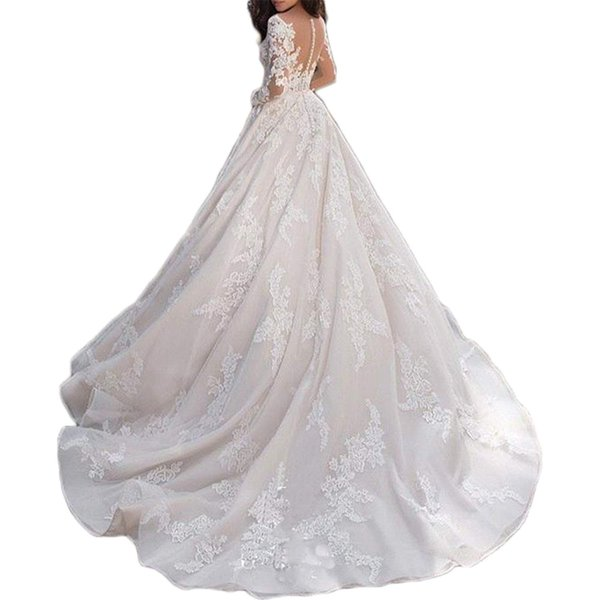Women's Flower Chapel Bridal Gown Glamours Hollow Out wedding gowns for bride Halter Wedding Gown with Sleeves trouwjurk 2019