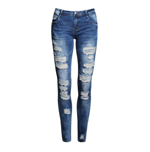Ripped Fashion Low Waist Distressed Jeans New Ladies Cotton Denim Pants Stretch Womens Ripped Skinny Denim Jeans para mujer