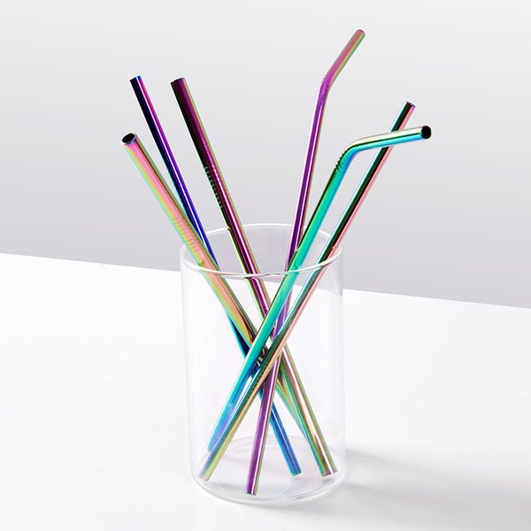 6 Color 215MM length Durable Stainless Steel Straight and bend Drinking Straw Straws Metal Bar Family kitchen 20oz cup drinking straw B