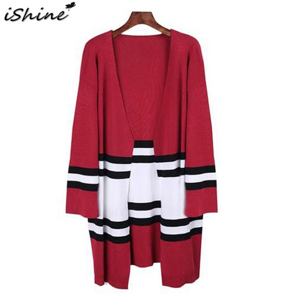 European And American Contrast Color Coat Wild Female Loose Sweater Striped Knit Cardigan Ladies Fashion Casual Sweater Top