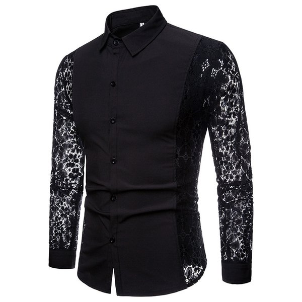 Mens Autumn Winter Sleeve Lace Solid Color men Fashion dress shirts Design Long Sleeve Lapel casual male Shirt camisa tops