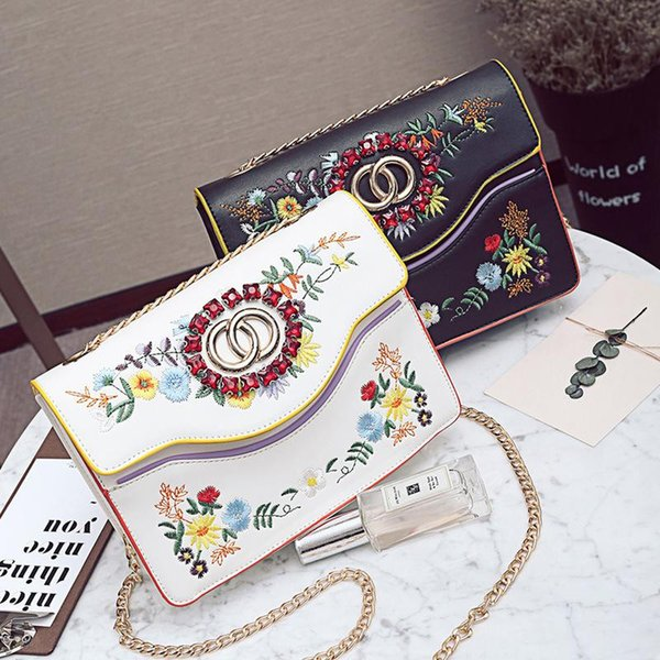 Embroidery Handle Bag Female 2017 Spring New Shoulder Bag Fashion Women Broadband Bag Oblique Chain Totes Ladys Cross Body Bags