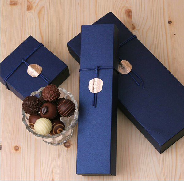 4/6/12 Packed Deep Sapphire Blue Chocolate Paper Box Valentine's Day Christmas Birthday Party Gifts Packaging Boxes free shipping 100pcs