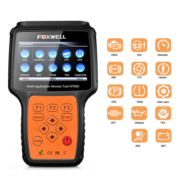 Foxwell NT650 OBDII OBD2 Scann Diagnostic Tool Engine ABS SRS EPB Oil Service Reset Injector Special Function Diagnostic Scanner