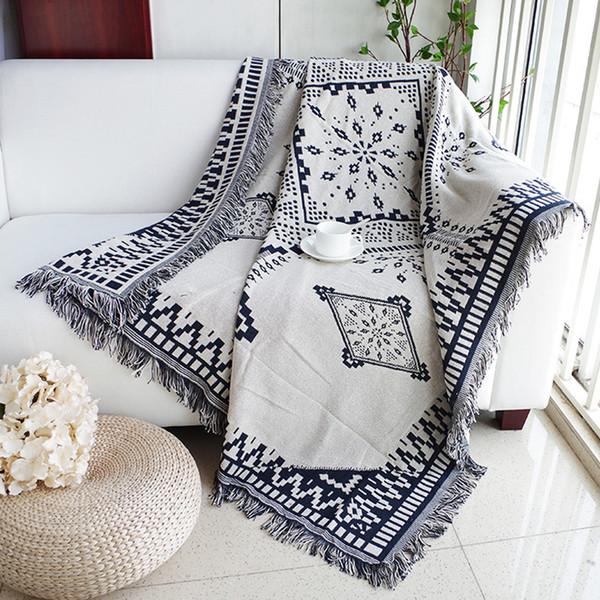 Baumwolle schwarz weiß Jacquard Decke für Sofa Cover Wohnzimmer Tagesdecke Teppich Dream Catcher türkischen ethnischen Muster werfen
