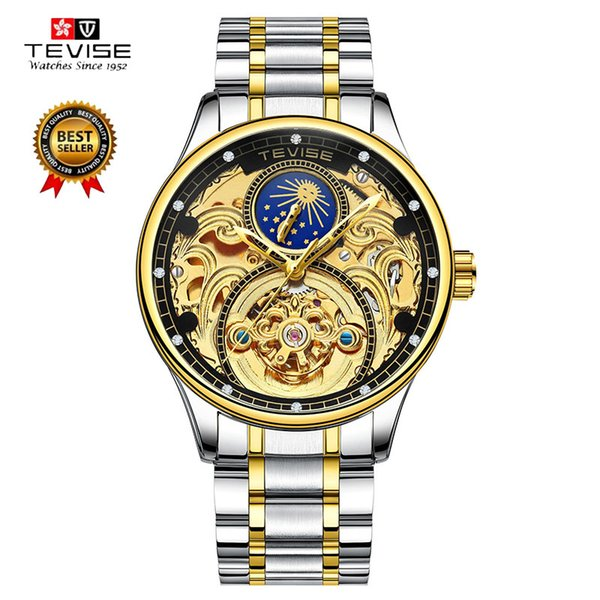 TEVISE Automatic Mechanical Wristwatch Mens Stainless Steel Bracelet Skeleton Watch Man Wind Wristwatches Montre Homme t820a C18111601