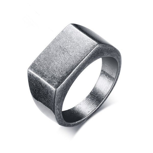 Punk Male Retro Square Rings Stainless Steel Vintage Grey Casting Geometric Finger Rings Jewelry For Cool Men
