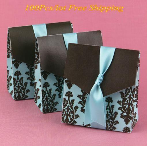 (100pcs / lot) dolce Casella di cerimonia nuziale del turchese e marrone fiorire scatole di favore per le idee matrimonio unico e contenitore di partito regalo decorazioni
