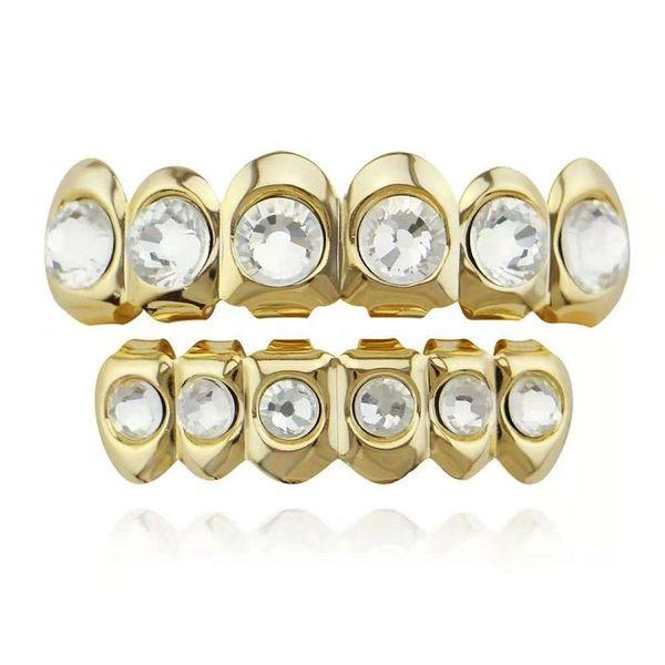 hip hop diamante grande grillz chapado en oro real, parrillas dentales joyería del cuerpo del rapero, dos colores, plata dorada, un diamante por diente, envío gratuito