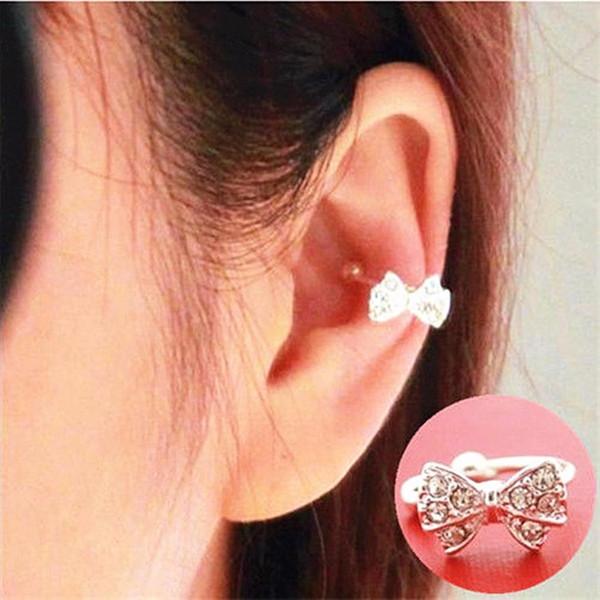U Shape Crystal Bowknot Bow Ear Cuff No Piercing Earring