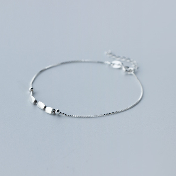 1pc 925 Sterling Silver 3Beans &Double Round Box Chain Bracelet Charm | Slim and Dainty Bridesmaid Jewelry adjustable sz LS122