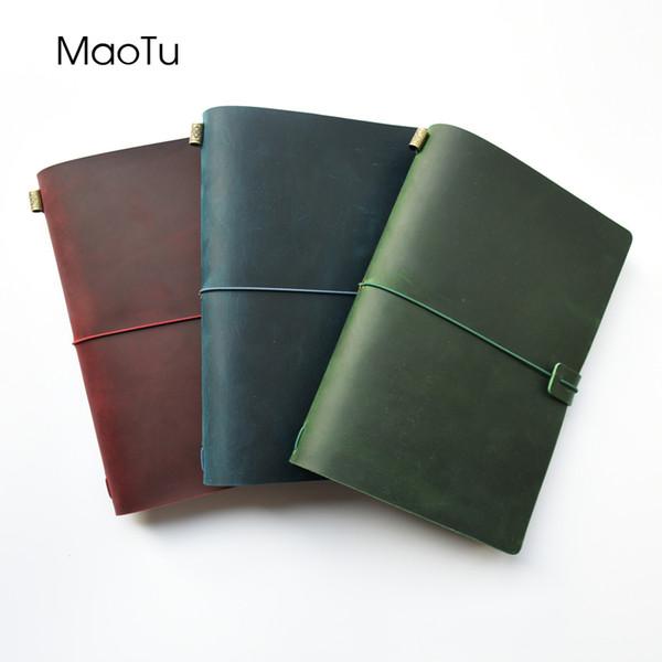 Maotu Vintage en cuir véritable Notebook Journal Journal Agenda Agenda Sketchbook Creative Anniversaire Cadeau Initiales Timbre