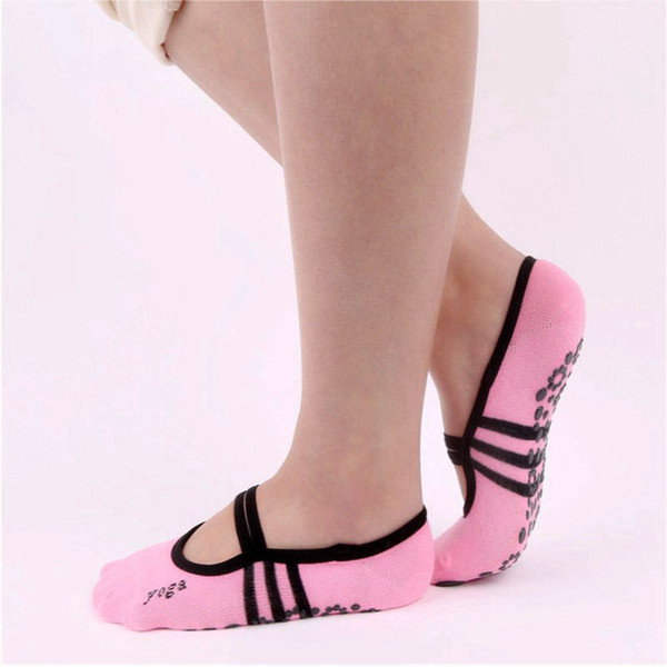 Women's sports socks wholesale no-slip yoga socks new backless dance plastic base for ladies pink invisible