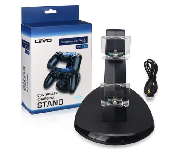 Deux chargeurs pour manette sans fil ps4 xbox one, support de support de station de chargement USB à 2 ports pour console de jeu ps4 xbox one avec boîtier LLFA